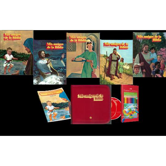 Mis Amigos de la Biblia, Bände 1-5 inkl. Hörbuch, Malheft, Farbstifte
